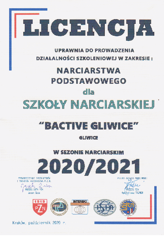 Szkoła narciarska BACTIVE Licencja